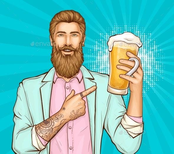 Beer Festival Pop Art Vector Banner Template - People Characters