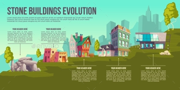 Stone Buildings Evolution Cartoon Vector Poster - Buildings Objects