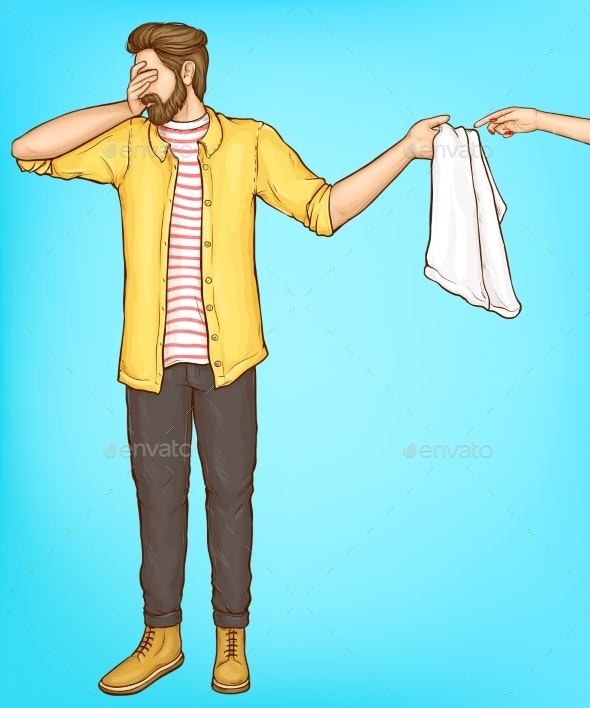 Shy Man Cover Eyes with Hand Giving Towel To Woman - People Characters