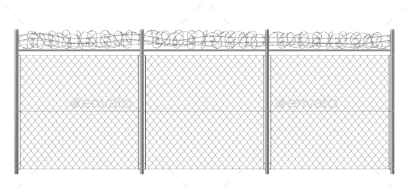 Rabitz Fencing with Razor Wire Realistic Vector - Man-made Objects Objects