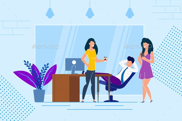 Rest at Work with Coffee Vector Illustration - People Characters