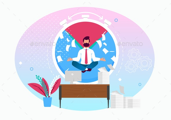 Vector Illustration Calm in Workplace Cartoon Flat - Concepts Business