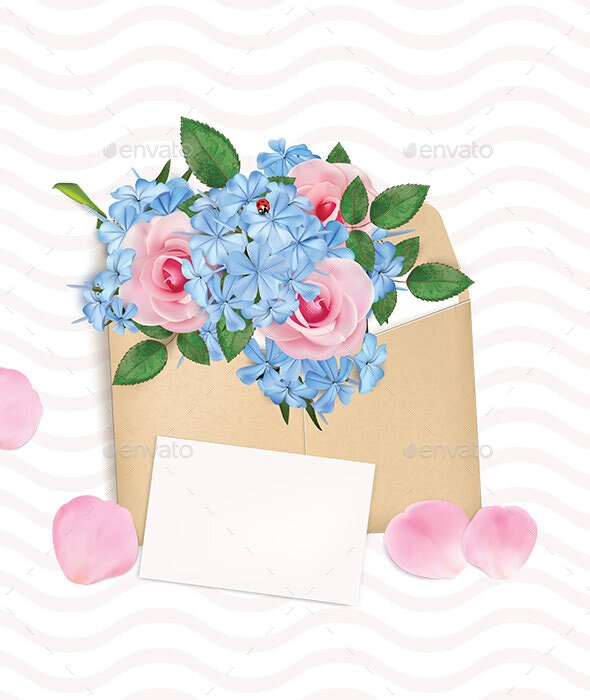 Gift Envelope with a Bouquet of Roses and Phloxes - Backgrounds Decorative