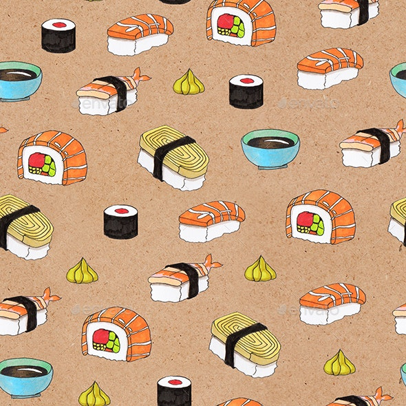 Sushi seamless pattern - Patterns Backgrounds