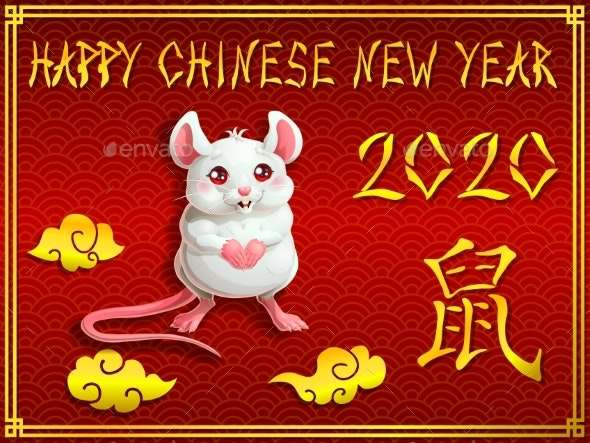 Card with White Mouse on Red and Gold - Animals Characters