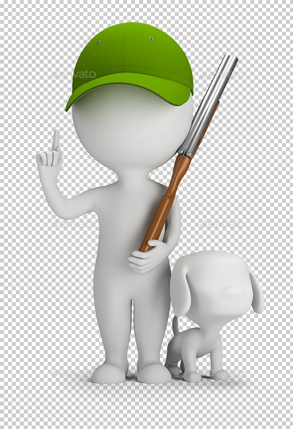 3D Small People - Hunter with a Gun and a Dog - Characters 3D Renders
