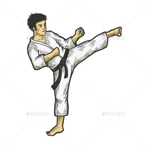 Karate Strikes Foot Up Sketch Engraving Vector - Sports/Activity Conceptual
