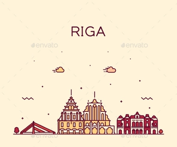 Riga Skyline Latvia Trendy a Vector Illustration - Buildings Objects