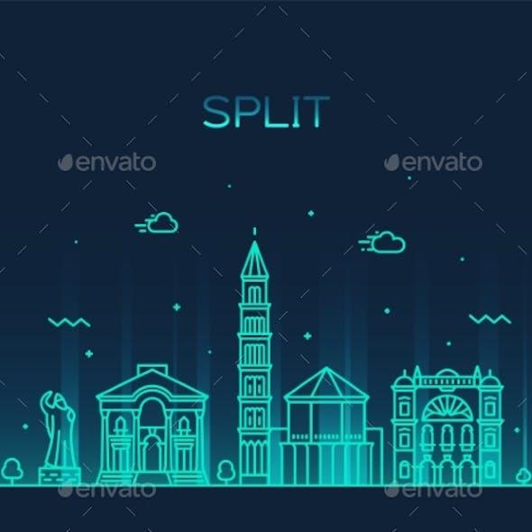 Split Skyline Croatia Vector Illustration a Linear