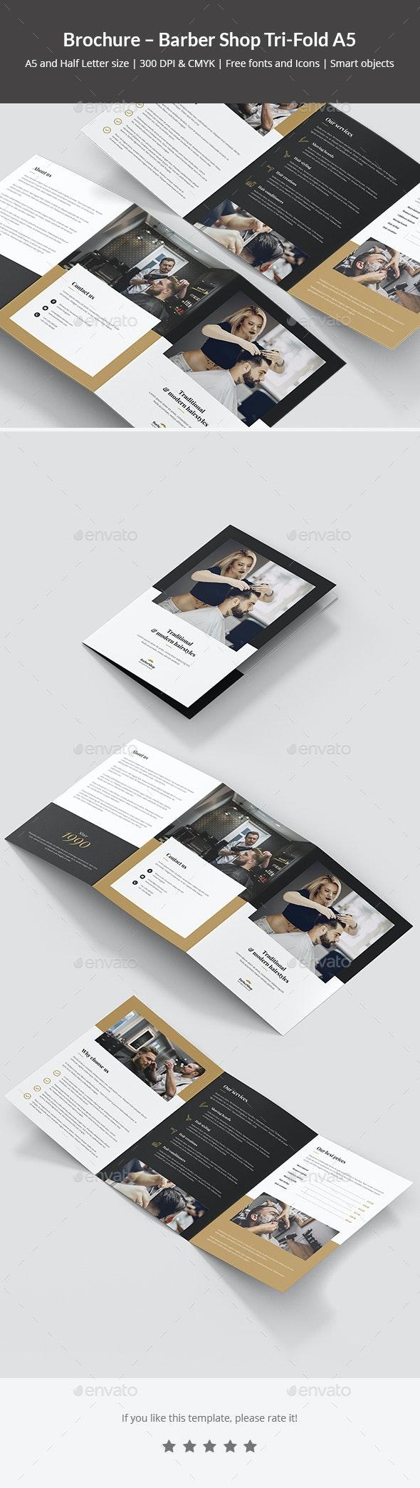 Brochure – Barber Shop Tri-Fold A5 - Corporate Brochures