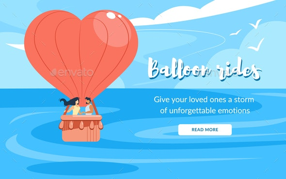 Loving Couple Rides in an Air Balloon - People Characters