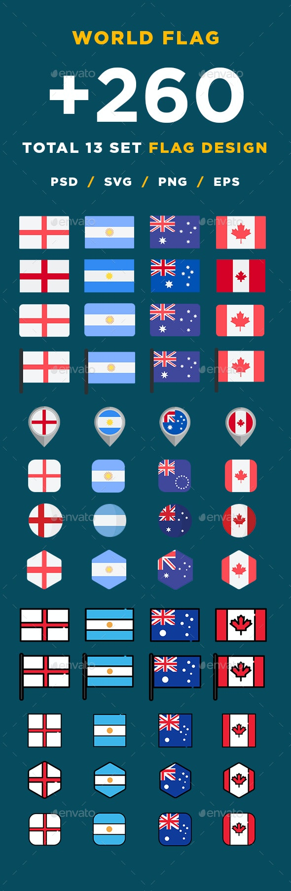 Modern World Flags Set - Miscellaneous Vectors