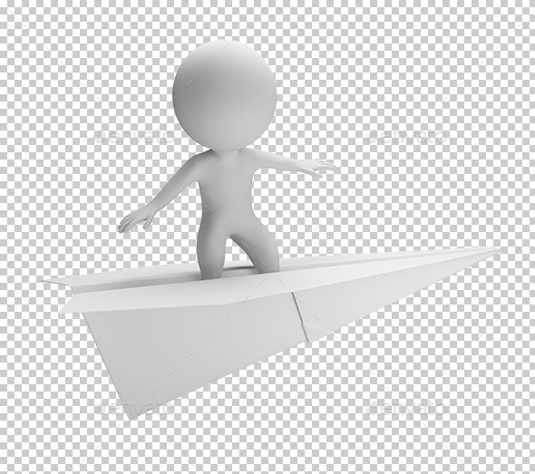 3D Small People - Flying on a Paper Plane - Characters 3D Renders