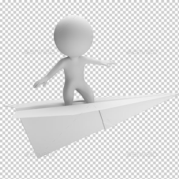 3D Small People - Flying on a Paper Plane