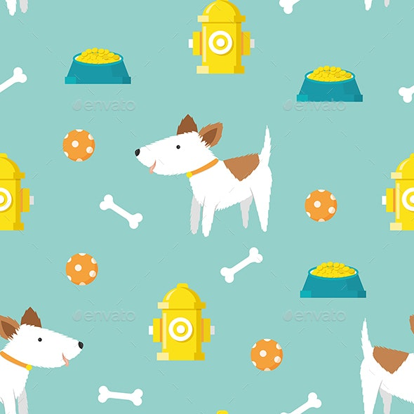 Cute Dog Seamless Pattern - Patterns Backgrounds