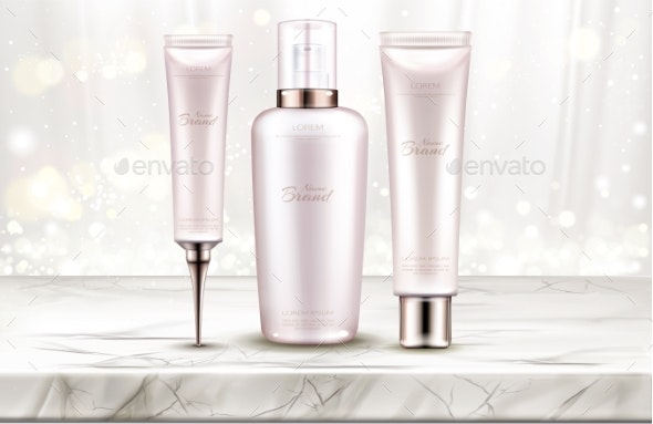 Beauty Cosmetics Bottles Line on Marble Table Top - Health/Medicine Conceptual