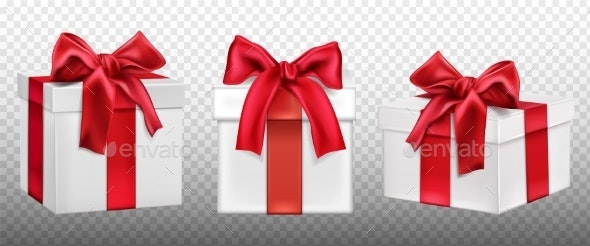 Gift or Present Boxes with Red Bow Set - Miscellaneous Seasons/Holidays
