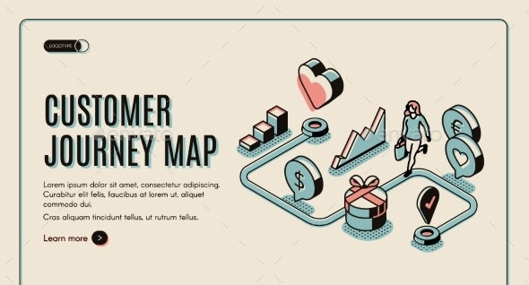 Customer Journey Map Isometric Banner - Concepts Business