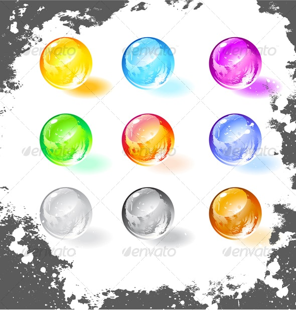 Shiny grunge balls, vector illustration  - Decorative Vectors