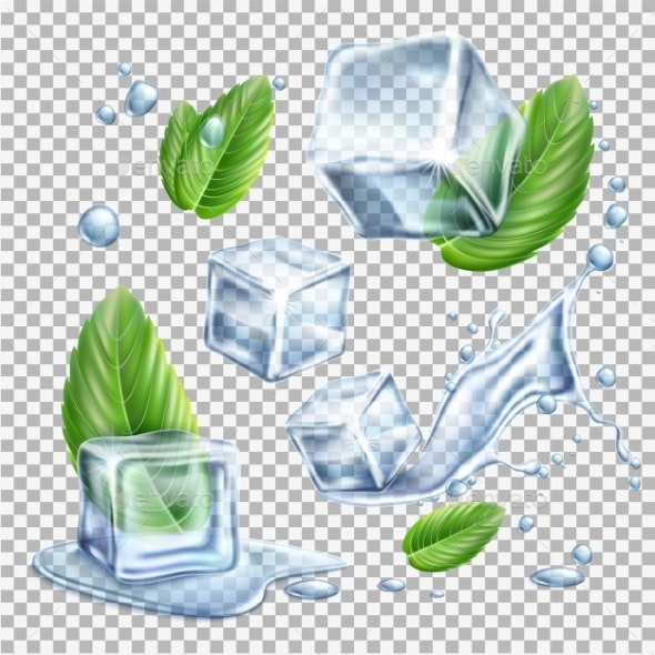 Vector Realistic Ice Cubes Mint Green Leaves Set - Food Objects