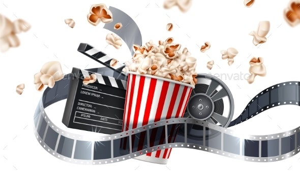 Vector Movie Cinema Poster Flying Popcorn Tape - Man-made Objects Objects