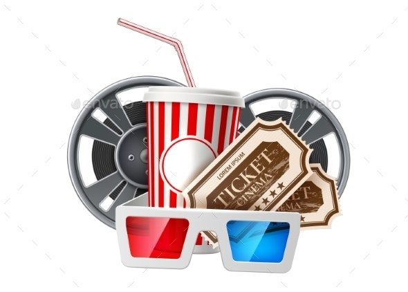 Vector Movie Cinema Poster Popcorn Tape Glasses - Man-made Objects Objects