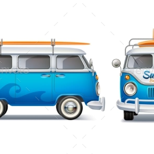 Vector Realistic Retro Blue Bus with Surfboard