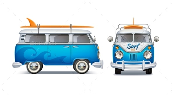 Vector Realistic Retro Blue Bus with Surfboard - Man-made Objects Objects