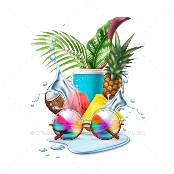 Vector Summer Pool Party Tropical Leaf Sunglasses - Food Objects