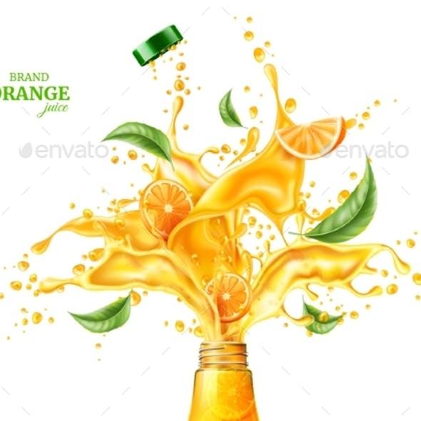 Vector Orange Juice Splash Flowing Liquid