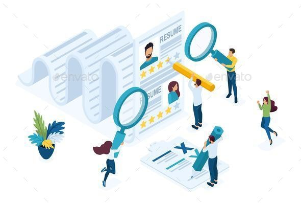 Isometric HR Manager consideration - People Characters