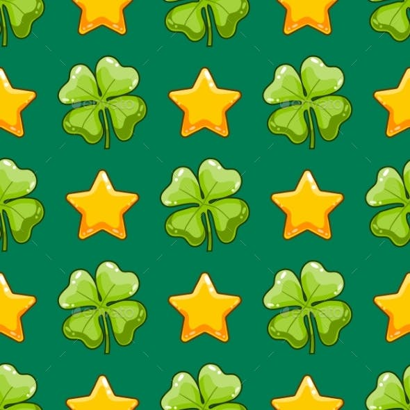 Seamless Pattern with Vector Clover and Stars
