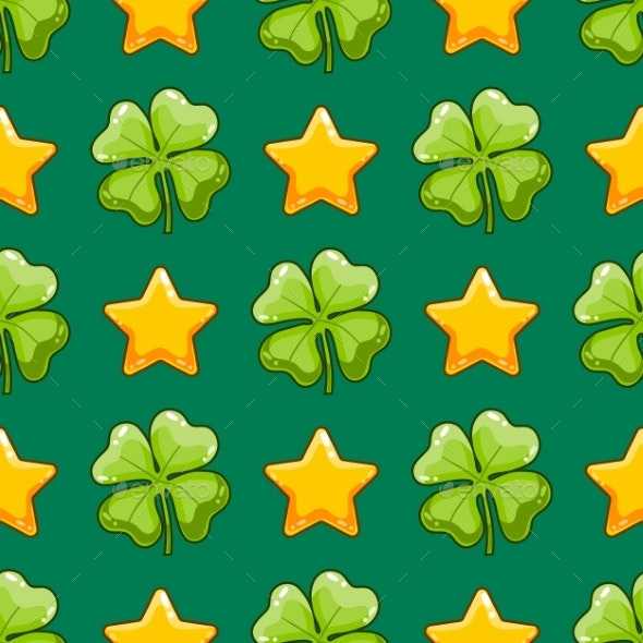 Seamless Pattern with Vector Clover and Stars - Miscellaneous Vectors