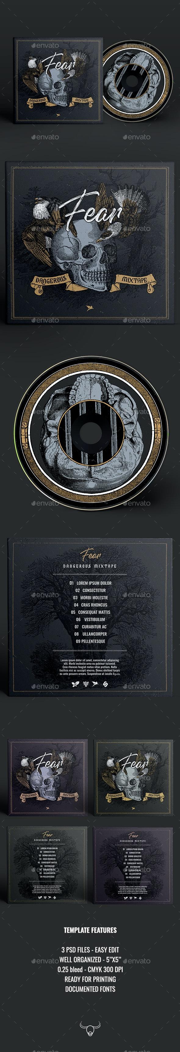 Fear - CD Cover Artwork Template - CD & DVD Artwork Print Templates