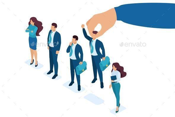 Isometric Employer Hand Choosing Man - People Characters