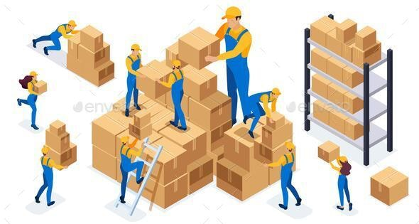 Isometric Set of Warehouse Employees - Industries Business