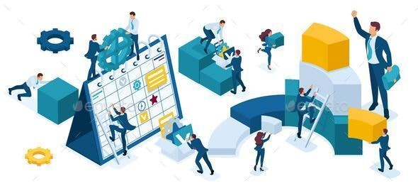 Isometric Set of Business People - Concepts Business