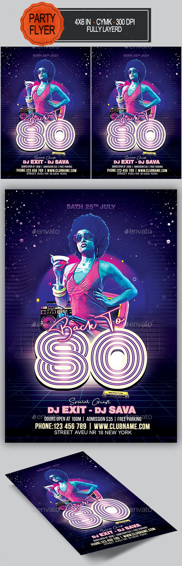 80s Party Flyer - Clubs & Parties Events