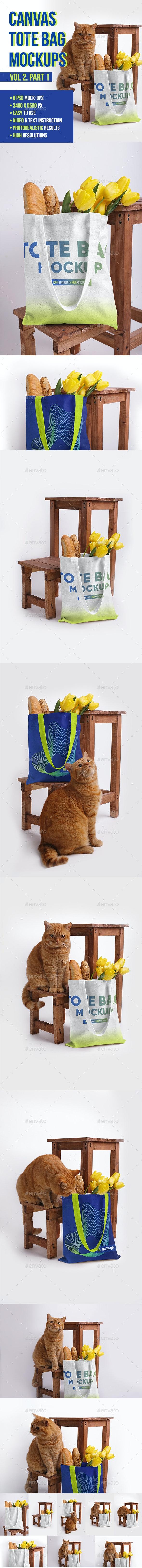 Canvas Tote Bag Mockups. Vol 2 Part 1 - Miscellaneous Apparel