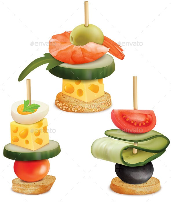 Set of Appetizers - Food Objects
