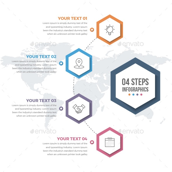 Infographics Template with 04 Steps - Infographics
