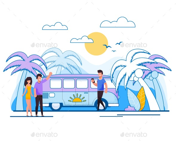 Cartoon Married Couple in Bus Tour Illustration - Miscellaneous Vectors