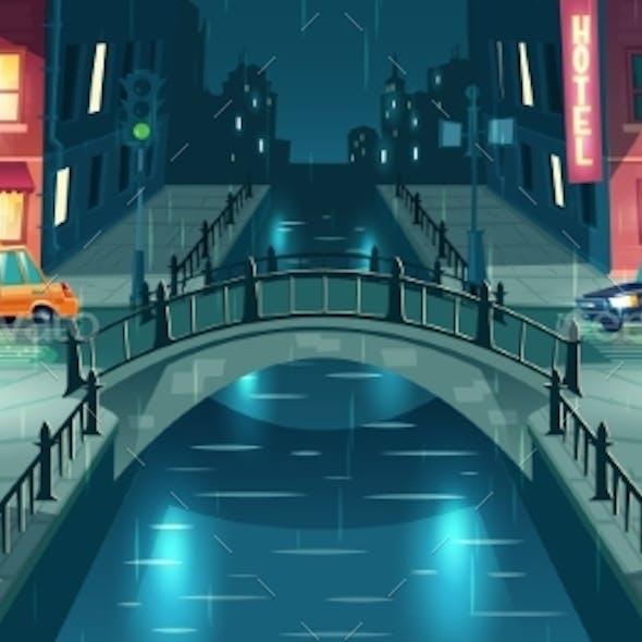 Night City Street in Rainy Weather Vector