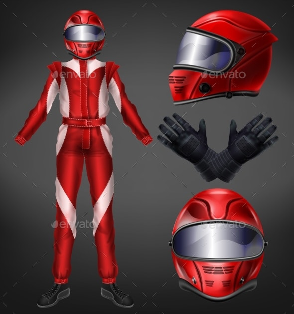 Auto Race Driver Protective Suit Realistic Vector - Man-made Objects Objects