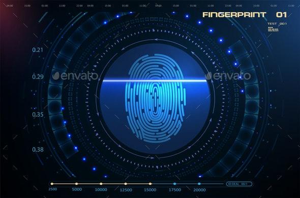 Security Concept Fingerprint Scanning - Miscellaneous Vectors