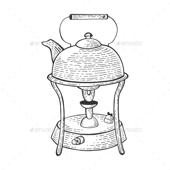 Kettle in Primus Stove Sketch Engraving Vector - Man-made Objects Objects