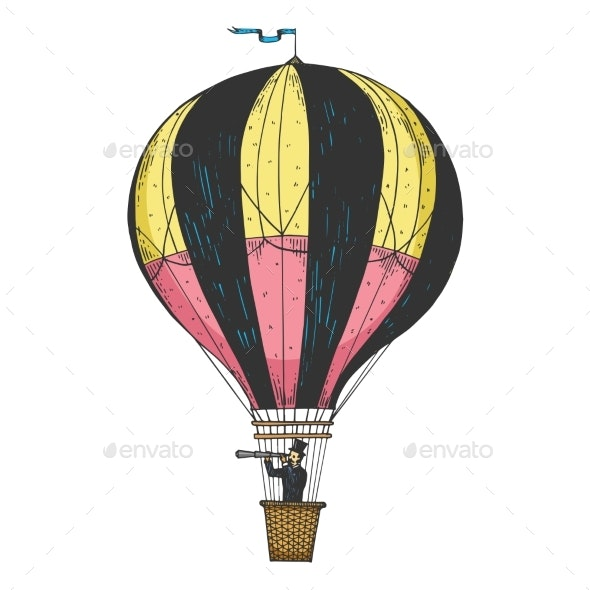 Vintage Air Balloon Engraving Vector Illustration - People Characters