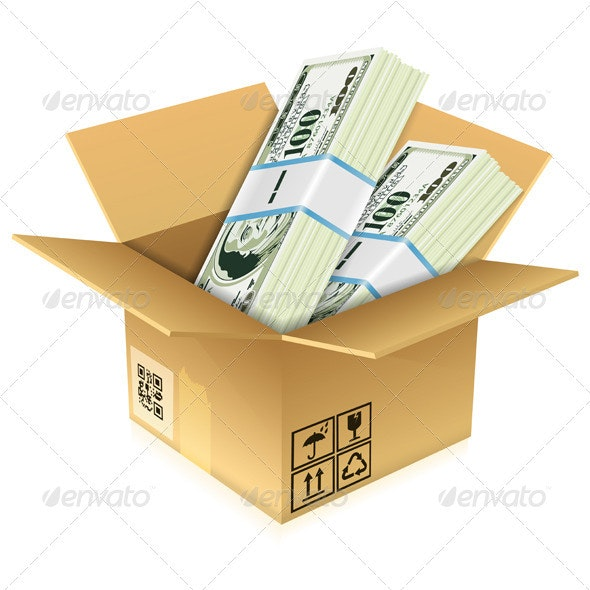 Cardboard Box with Dollar Bills - Concepts Business