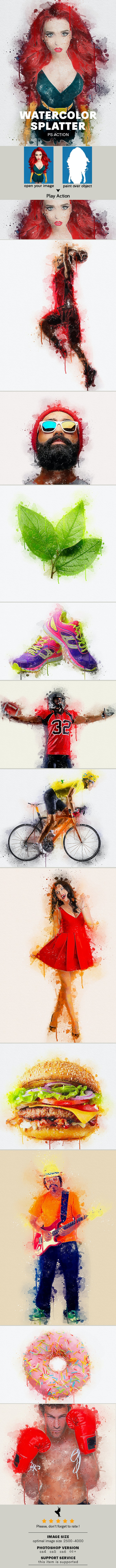Watercolor Splatter Photoshop Action - Photo Effects Actions
