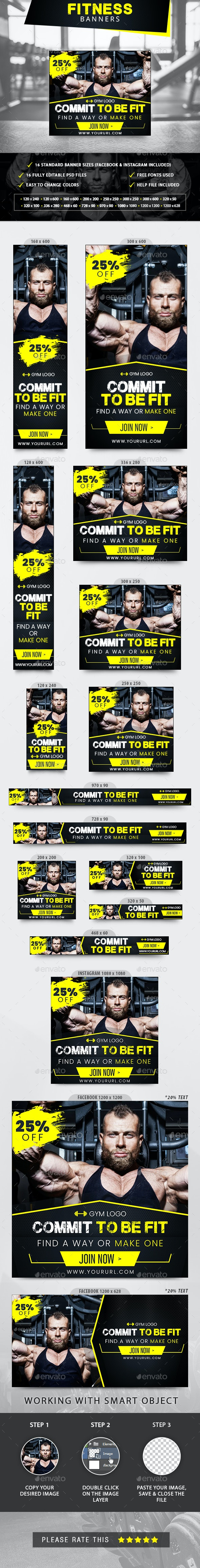Fitness Banners - Banners & Ads Web Elements